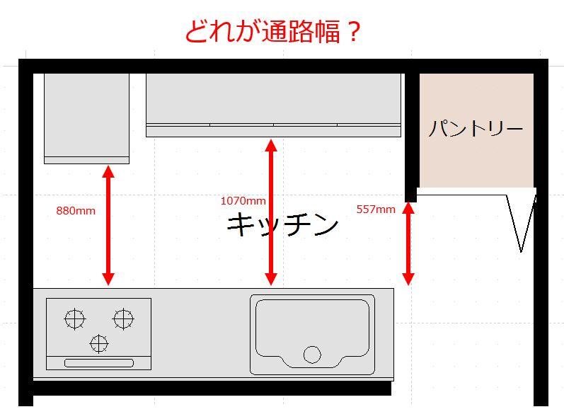 キッチンの通路幅:どれを通路幅と言っているのか注意が必要です。
