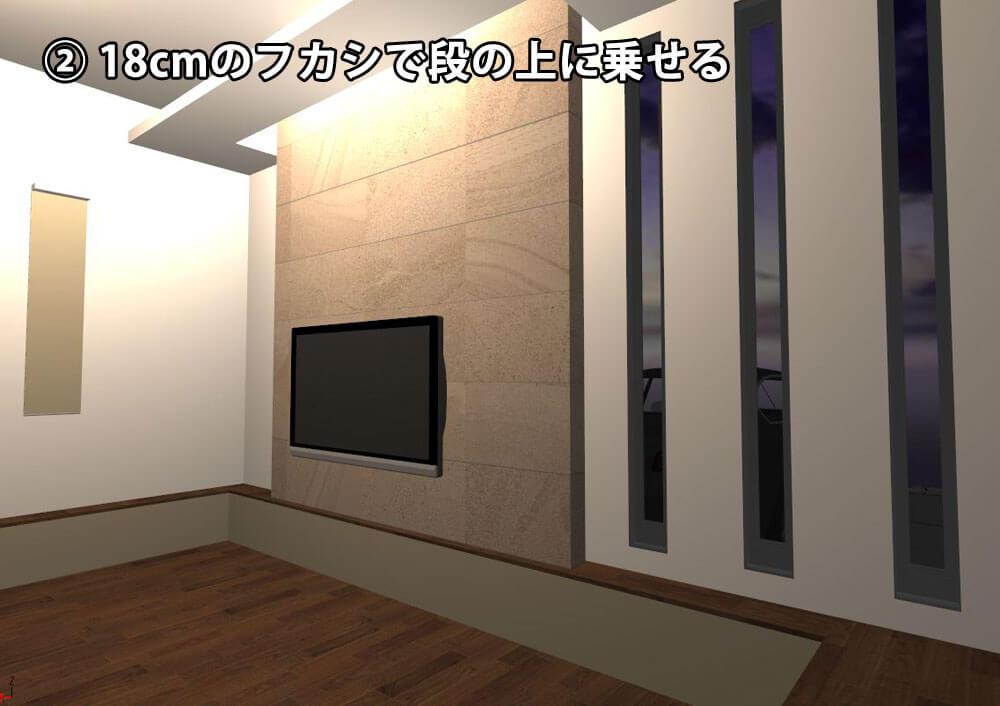 テレビ背面の壁の厚さ18cm