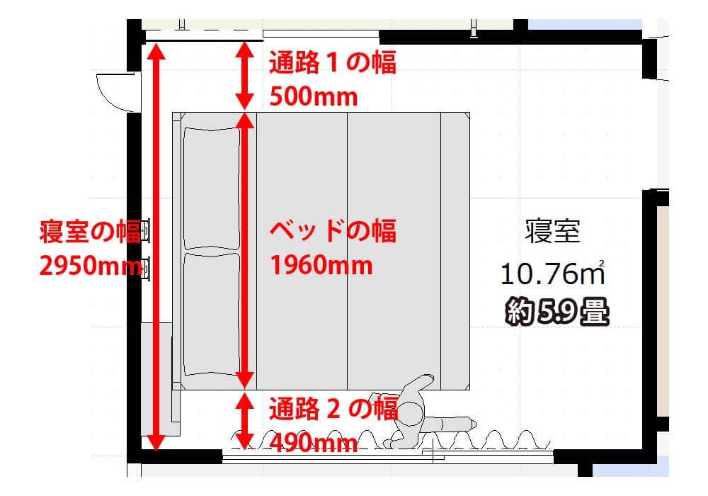 6畳足らずの寝室にシングルベッドを2台置いた図面