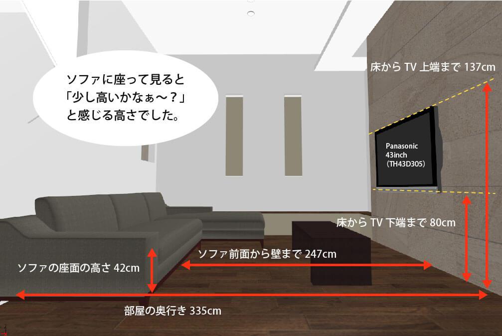 壁掛けテレビの取付高さ