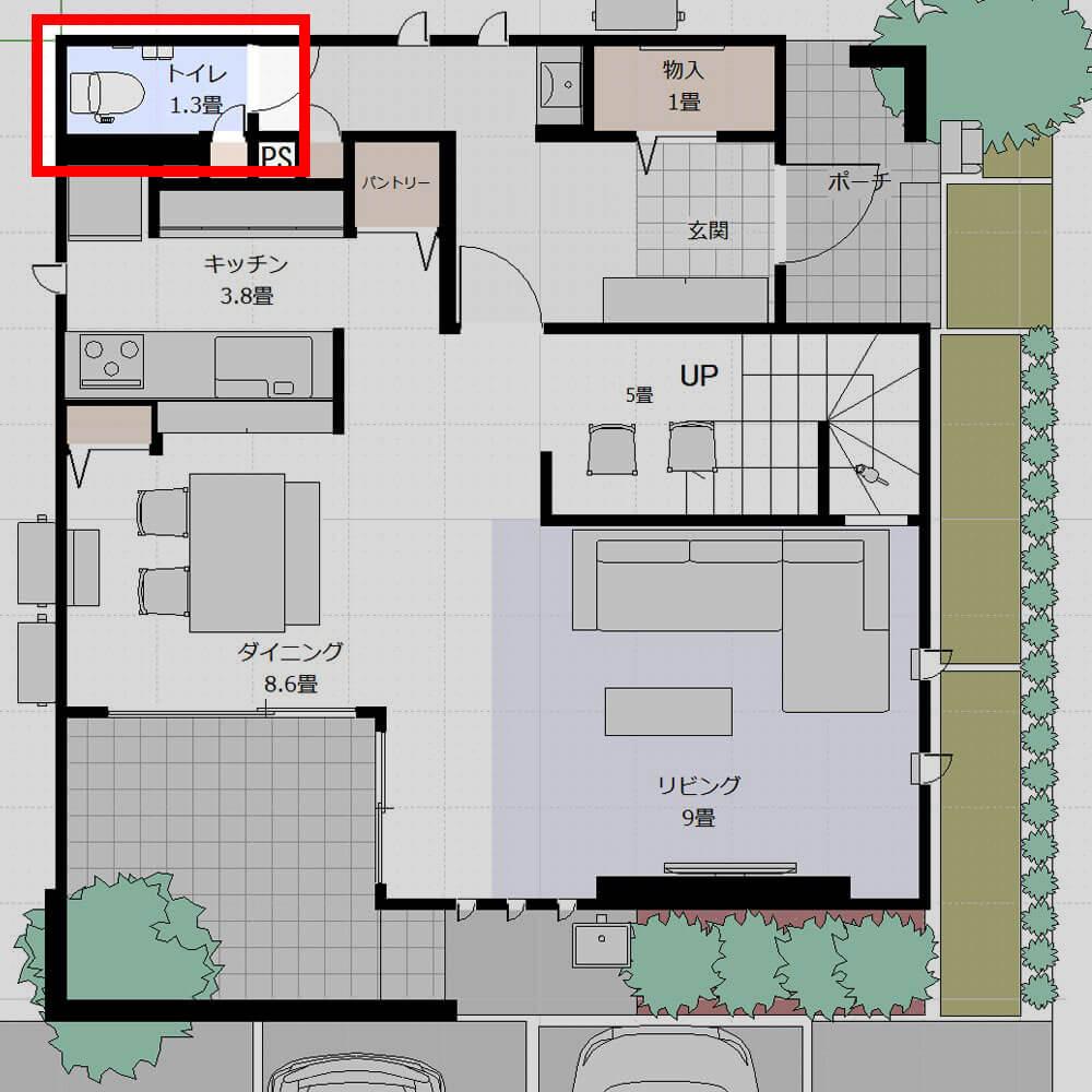 Web内覧会-トイレ1Fの図面