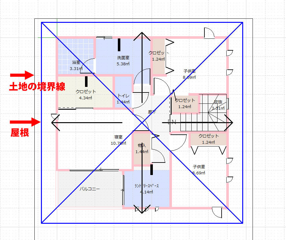 【図面】我が家の屋根の大きさ