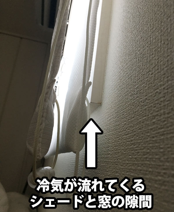 シェードと窓の隙間