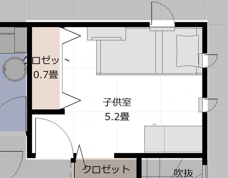 2階子供部屋のレイアウト